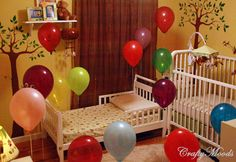 Have the kids wake up to a bunch of balloons in their room. Cute!