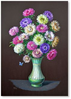 Flower Vases, Flower Art, Cross Stitch Games, Cellphone Wallpaper, Aster, Floral Arrangements, Beautiful Flowers, Arts And Crafts, Sketches