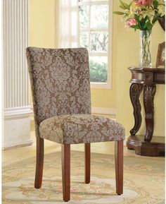 Home Elegant Set Of 2 Classic Damask Parson Mahogany Wood Chairs Living Space  #furniture #livingspace #woodchair #classic