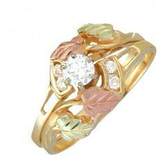 Black Hills Gold Diamond Engagement Wedding Ring Set - MyBlackHillsGold.com