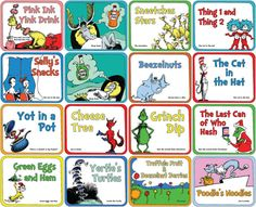 Dr. Seuss Food Labels Small Set of 16 for by AmpersandCreations
