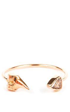 Petite Shark Tooth With Rose Cut Diamond Cuff Ring by Sara Beltran for Preorder on Moda Operandi