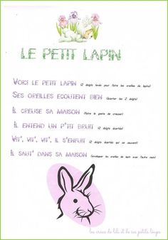 Jeu de doigt petit lapin Easter Songs For Kids, Kids Songs, Study French, Learn French, French Poems, French Education, Petite Section, Puffy Paint, French Lessons