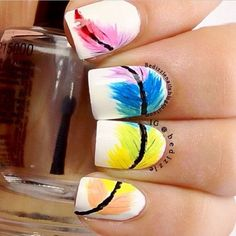 Rainbow  Feather Nail Designs.