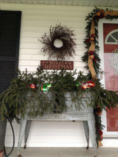 Country Christmas decor country Christmas porch #Prim #Christmas                                                                                                                                                     More