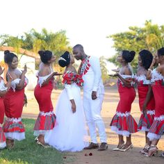 mwa's traditonal venda wedding - Venda, a Bantustan in northern South Africa African Print Wedding Dress, African Bridesmaid Dresses, African Print Dress Designs, African Wedding Attire, African Prints, Couples African Outfits, African Fashion Dresses, African Dress, Venda Traditional Attire