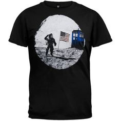 This black, cotton t-shirt features the TARDIS time machine at the site of the first U. moon landing in a slightly distressed graphic on the front. Finally, proof positive that the moon landing wasn't a hoax. Geek Toys, Doctor Who Tardis, Nerd Love, Moon Landing, Old Glory, The Dreamers, Graphic Tees, Geek Stuff, Hoodies
