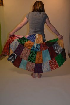 Patchwork Tiered Gypsy Belly Dance Skirt.