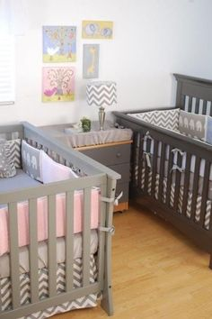Nursery for twin boy and girl - Grey and elephants and chevron with pink and blue touches to individual cot areas and bedding