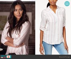 1b38a0b6e69f3 Emily s red striped shirt on Pretty Little Liars. Outfit Details  https