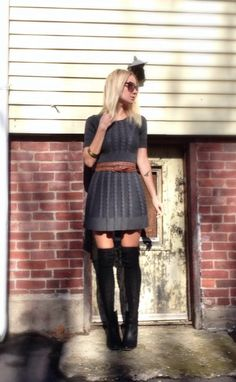 Grey sweater dress. Over the knee socks. Black boots. Autumn outfit.