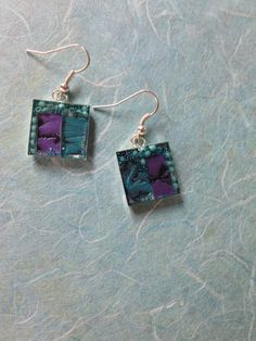Mosaic earrings are made of violet and teal by MosaicPendantsPlus, $23.00