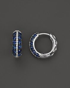Sapphire and Diamond Huggie Hoop Earrings in 14K White Gold