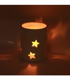 Romantic Stars Pillar Ceramic Candle Holder Classical; romantic; European-style; cute pillar candle holder; magical stars; family decoration; warm atmosphere.
