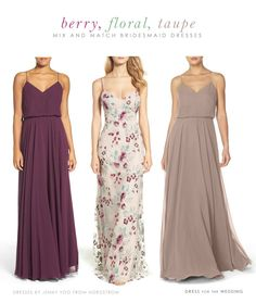 Bridesmaid dresses Our latest mix and match bridesmaid dress idea with burgundy, floral, and neutrals that would be beautiful for a fall wedding! Shopping sources, and links . Berry Bridesmaid Dresses, Bridesmaid Dresses Floral Print, Bridesmaid Outfit, Mix Match Bridesmaids, Red Bridesmaids, Wedding Shopping, Fall Wedding, Beautiful, Bride Dresses