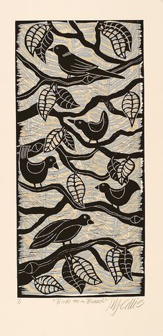 Mariann Johansen-Ellis. Birds on a Branch, Lino Mix and Match, 3 plates layered on top of each other.