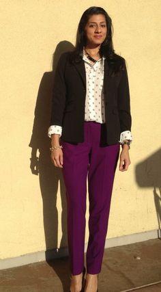 Purple pants and polka dots office dress code, office dresses, office outfits women, Office Outfits Women, Office Fashion Women, Womens Fashion For Work, Work Outfits, Office Dress Code, Office Dresses, Work Casual, Casual Fall, Purple Pants