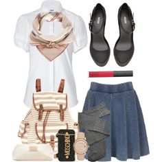 A fashion look from August 2013 featuring Burberry blouses, Topshop skirts and Trasparenze tights. Browse and shop related looks.