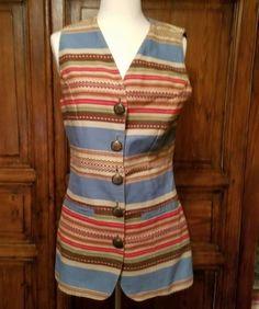 Double-D-Ranch-Wear-Long-Vest-Southwestern-Serape-Blanket-Print-Sz-M