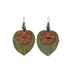 NOVICA Hand Crafted Tiger's Eye and Leather Leaf Dangle Earrings ($20) ❤ liked on Polyvore featuring jewelry, earrings, dangle, green, leather earrings, green dangle earrings, leaves earrings, dangle earrings and leather jewelry