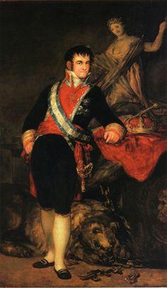 Fernando VII, 1814 by Francisco Goya. Museum of Fine Arts, Santander, Spain Francisco Goya, Spanish Painters, Spanish Artists, Goya Paintings, Jean Antoine Watteau, Fernando Vii, Art Database, Aragon, Old Master