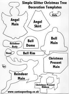 Simple Glitter Christmas Tree Decoration Templates