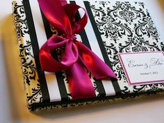 Black White and Fuchsia Damask Wedding Guest Book (made to order). $41.00, via Etsy.