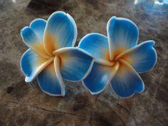 Aloha Hawaiin Style // Plumeria Flower Post Earrings // Polymer Clay // Royal Blue and Yellow. $6.00, via Etsy.