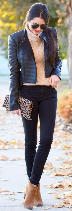 Camel Cable Knit Turtleneck Fall Street Style Inspo by Pink Peonies