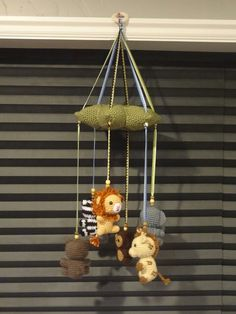 Crochet Jungle animals baby mobile - Before After DIY