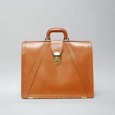 40s Leather Briefcase Toffee now featured on Fab.