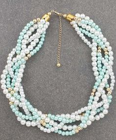 Mint and Gold Pearl Statement Necklace from EarringsNation Mint + Gold Weddings Bridal Necklace Mint weddings Twisted Pearl Necklace