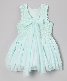 Another great find on #zulily! Aqua Crochet Bow Babydoll Dress - Infant, Toddler & Girls #zulilyfinds