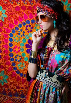 Bohemian  tone it down by removing background and head dressing.  Wear with simple neutral boots and handbag.