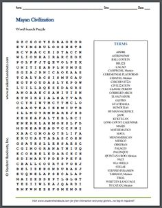 civilization of the ancient maya word search puzzle free to print pdf file