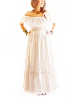5a9ef0ecdf8ce Camelia lacecrochet romantic Maxi Dress Off Shoulder Blouse