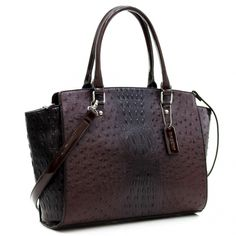 Dasein® Faux Ostrich Leather Winged Satchel with Patent Trim - fashlets.com