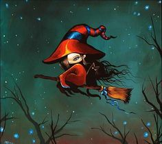 Art: Nightly Flight by Artist Nico Niemi Halloween Arts And Crafts, Halloween Fun, Halloween Decorations, Witch Pictures, Vintage Halloween Images, Witch Tattoo, Witch Art, Witch Painting, Artist Portfolio