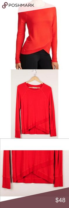 Athleta Criss Cross Sweatshirt Red Workout Top Athleta Women's Criss Cross Sweatshirt Red Size Small S Soft Workout Daywear Top Athleta Tops Tees - Long Sleeve