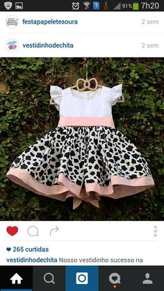 Vestido para tema fazendinha Cow Birthday, Birthday Tutu, 2nd Birthday Parties, Barnyard Party, Farm Party, Barbie Clothes, Diy Clothes, Second Birthday Ideas, Little Girl Dresses