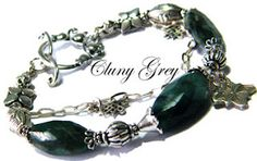 Emerald and silver bracelet