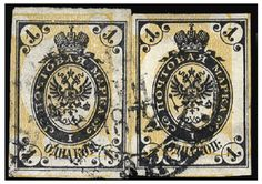 """1868 1k black & yellow, vertically laid paper, imperforate with inverted and shifted background, two copies, both with large margins all around, cancelled """"Moscow, 1 September, 1872"""" and affixed on piece, a striking double error (imperf. and inverted background), only a few exist, these probably the finest known, with sharp impression, v.f., with Mikulski cert. (Liapine 17X) -- $25,000.00. 2011 year"""
