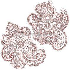 Henna Mehndi Pasiley Mandala Flower Doodles Vector stock image