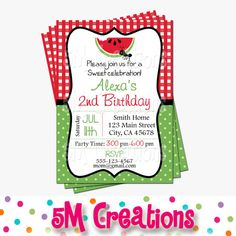 Our watermelon invitations features red or pink gingham and green dot patterns with a sweet slice of watermelon and little ant. Perfect for a