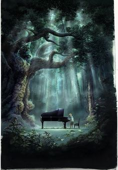 Piano in the middle of nowhere. Now we just need to find someone with a grand piano, or at least a baby grand, who will lone it to us, then we just need to figure out how to get it set up in the middle of the forest. Das Piano, Piano Art, Piano Music, Boy Music, Music Music, 3d Fantasy, Fantasy World, Forest Poster, Illustration