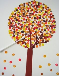 Fall tree.  Q-tip (fine motor)
