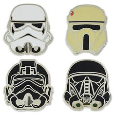 [Fab four]Recruit this pin set of four different Stormtrooper helmets inspired by <i>Rogue One: A Star Wars Story</i> to your ever-expanding collection.