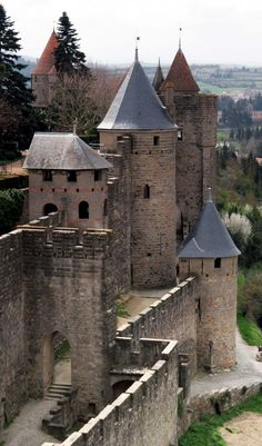 Carcassonne Towers Medieval Walls - Carcassonne, Languedoc-Roussillon, France