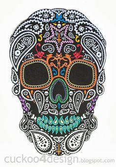 DIY Halloween Mexican Skull Wall Art #halloween #art #skull