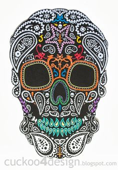 DIY Halloween Mexican Skull Wall Art #halloween #art #skull